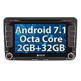 PUMPKIN Android 7.1 Autoradio 32GB + 2GB für VW Golf Polo Passat mit Navi Unsterstützt Bluetooth DAB+ WLAN MirrorLink USB MicroSD DVD CD Player 2 DIN 7 Zoll/17,8cm Bildschirm
