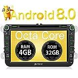 PUMPKIN Android 8.0 Autoradio 4GB DVD Player für VW mit Navi 8 Zoll Bildschirm Unterstützt...