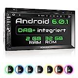 XOMAX XM-2DDA6902 Autoradio mit integriertem DAB+ Tuner, Android 6.0.1 2GB / 32GB WiFi 3G/4G OBD2 Support, Navigation, Bluetooth Freisprecheinrichtung, 6,9' I 17,5cm Touchscreen Bildschirm 2DIN