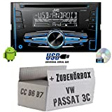 VW Passat 3C CC B6 B7 - JVC KW-R520E - 2DIN Autoradio Radio - Einbauset