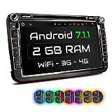 XOMAX XM-2DA801 Autoradio mit Android 7.1.1 passend für VW SEAT Skoda mit Navigation I DVD CD I Bluetooth I Support: Wifi DAB+ OBD2 I 8' / 20 cm Bildschirm I USB bis 2TB I Micro SD bis 256GB