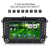 Qiilu Touchscreen 7 Zoll Universal 2 DIN Auto HD DVD Player GPS Navigation Bluetooth für VW/Polo/Passat/Golf/Skoda/Seat