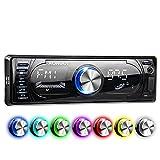 XOMAX XM-RSU260BT Autoradio mit Bluetooth Freisprecheinrichtung + RDS FM AM Radio Tuner + 7 Beleuchtungsfarben + USB Anschluss (bis 128 GB) & SD Kartenslot (bis 128 GB) für MP3 und WMA + AUX-IN + Single DIN (1 DIN) Standard Einbaugröße + inkl. Einbaurahmen