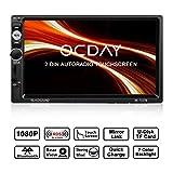Doppel Din Autoradio,OCDAY 2 Din Autoradio mit FHD Touchscreen,Autoradio MP5 Spieler Bluetooth,Mirrorlink((Android Phone),USB/TF/ FM/AM/RDS Radio Tuner/Aux in/Unterstützung Rückfahrkamera
