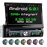 XOMAX XM-DDA711 Autoradio mit Integriertem DAB+ Tuner, Android 6.0.1, 2GB RAM, 32G ROM, Navigation, Wifi, OBD2 Sapport, Bluetooth Freisprecheinrichtung, Touchscreen Bildschirm, DVD CD USB SD, 1 Din