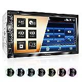 XOMAX XM-2D6904 Autoradio mit 17,7 cm 6,9 Zoll Touchscreen Bildschirm, DVD CD Player, Bluetooth Freisprecheinrichtung, USB, SD, Aux, 2 Din