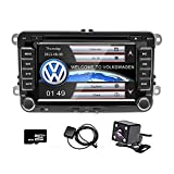 camecho Doppel DIN 17,8 cm Auto CD DVD Player GPS Sat Nav Stereo Touchscreen Autoradio für VW Passat Golf Transporter T5 + 4 LED Mini Kamera Night Vision