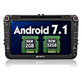 PUMPKIN Android 7.1 32GB + 2GB Autoradio DVD Player Moniceiver für VW mit GPS Navi 8 Zoll/ 20cm Touchscreen Unterstützt Bluetooth DAB+ WLAN Subwoofer MirrorLink USB MicroSD AV-OUT Fastboot 2 Din