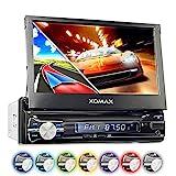 XOMAX XM-VRSUN741BT Autoradio / Moniceiver / Naviceiver mit GPS Navigation + Navi Software inkl. Europa Karten (38 Länder) + Bluetooth Freisprechfunktion + 7'/18cm Touchscreen Display in 16:9 HD Auflösung (800 x 480 px) + Ohne CD-Laufwerk + USB Anschluss (bis 128 GB) + Micro SD Speicherkarten Slot (bis 128 GB) + MPEG4, MP3, WMA, AVI, etc. + Anschlüsse für Subwoofer, Rückfahrkamera & Lenkradfernbedienung + Single DIN (1DIN) Standard Einbaugröße + inkl. Fernbedienung, Einbaurahmen
