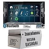 Nissan Qashqai (J10) bis 2013 - Autoradio Radio JVC KW-V240BT - DVD Bluetooth MP3 USB - Einbauzubehör - Einbauset