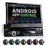 XOMAX XM-DTSB928 Autoradio mit 18cm I 7 Zoll HD Touchscreen Bildschirm, Bluetooth Freisprecheinrichtung, DVD CD Player, USB, SD, MP3, RDS, Aux, 1DIN, abnehmbares Bedienteil