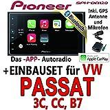 VW Passat 3C, CC, B7 - Pioneer SPH-DA120 - 2DIN USB Bluetooth Apple CarPlay Autoradio - Einbauset