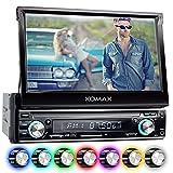 XOMAX XM-VRSU743BT Autoradio / Moniceiver + 18 cm / 7' High Definition HD Touchscreen Bildschirm + Audio & Video: MP3 inkl ID3 TAG, WMA, MPEG4, AVI, etc. + Bluetooth Freisprecheinrichtung & Musikwiedergabe via A2DP + Beleuchtungsfarben: 7 Farben + USB Anschluss bis 128 GB! + SD Kartenslot bis 128 GB! + RDS Radio Tuner + Rückfahrkamera Anschluss + Anschluss für Subwoofer + Single DIN (1 DIN) Standard Einbaugröße + inkl. Blende, Einbaurahmen