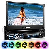 XOMAX XM-DTSB930 Autoradio / Moniceiver + Bluetooth Freisprecheinrichtung & Musikwiedergabe + 18cm / 7' HD Touchscreen Display + Audio & Video: MP3 inkl ID3 TAG, WMA, MPEG4, AVI etc. + Beleuchtugsfarbe frei einstellbar + Codefree DVD / CD Player + USB Anschluss bis 128GB + SD Kartenslot bis 128GB + RDS + Anschluss für Rückfahrkamera, Lenkradfernbedienung, Subwoofer + Single DIN (1 DIN) Standard Einbaugröße + Abnehmbares Bedienteil + inkl. Fernbedienung, Schutzhülle, Einbaurahmen