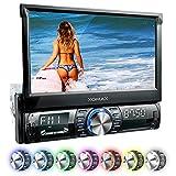 XOMAX XM-VRSU742BT Autoradio / Moniceiver + 18 cm / 7' High Definition HD Touchscreen Display + Audio & Video: MP3 inkl ID3 TAG, WMA, MPEG4, AVI, etc. + Bluetooth Freisprecheinrichtung & Musikwiedergabe via A2DP + Beleuchtungsfarben: 7 Farben + USB Anschluss bis 128 GB! + SD Kartenslot bis 128 GB! + RDS Radio Tuner + Rückfahrkamera Anschluss + Anschluss für Subwoofer + Single DIN (1 DIN) Standard Einbaugröße + inkl. Blende, Einbaurahmen
