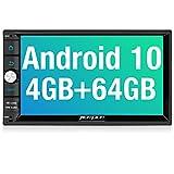 PUMPKIN Android 10 Autoradio mit Navi 64GB+4GB Unterstützt Bluetooth 5.0 DAB + WiFi 4G Android Auto...