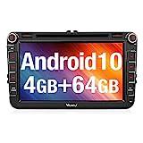 Vanku Android 10 Autoradio für Golf 5 6 Touran Polo Radio 64GB+4GB mit Navi DVD Player Unterstützt...
