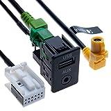USB AUX Autoschalter + USB 4-poliges Anschlusskabel + AUX 12-poliges Kabelbaumkabel Kompatibel mit...