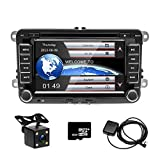 CAMECHO 17,8 cm Auto CD DVD Player GPS Sat NAV Stereo Touchscreen Autoradio für VW Passat Golf...