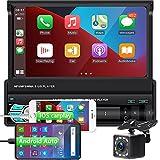1DIN Autoradio Bluetooth mit Apple Carplay und Android Auto, 7 Zoll Touchscreen MP5 Player Radio mit...
