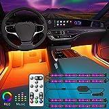 Govee LED Auto Innenbeleuchtung, Fußraumbeleuchtung mit Fernbedienung, Zwei-Linien-Design, Musik...