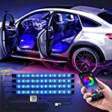 WILLED LED Innenbeleuchtung Auto, 4pcs 48LED Auto RGB Strips Wasserdichte Innenraumbeleuchtung, APP...