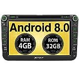 PUMPKIN Android 8.0 Autoradio 4GB DVD Player für VW mit Navi Unterstützt Bluetooth DAB+ WLAN 4G...