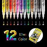 O-Kinee 0.7mm Acrylstifte Feine Spitze, 12 Farben Acrylfarben Wasserfest Marker Holz Stift Farbe...