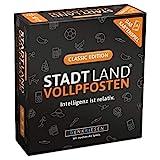 DENKRIESEN - Stadt Land VOLLPFOSTEN - Das Kartenspiel - Classic Edition   Wichtelgeschenk   Stadt...
