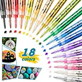 Acrylstifte Marker Stifte,0.7mm Feine Spitze,18 Farben Acrylstifte Wasserfest Permanent Paint...