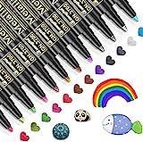 Emooqi Metallic Marker Pens, 12 Farben Metallic Stifte für Gästebuch Hochzeit Geburtstag Fotoalbum...