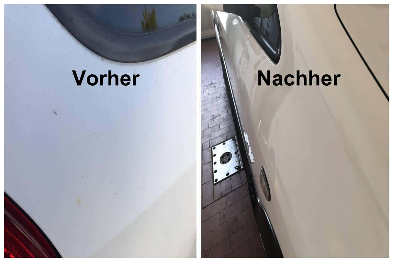 Weißes Auto polieren - Vorher-Nachher Bild