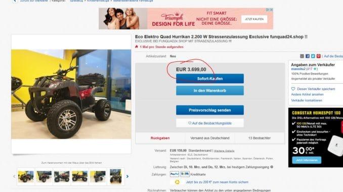 Elektro Quad für Erwachsene bei Ebay